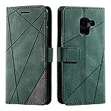 Galaxy A8 2018 Case, SONWO Premium Leather Flip Wallet Case