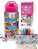 Purple Ladybug CREA tu Propia Botella de Agua Personalizada con 10 Rotuladores Vivos Pegatinas de...