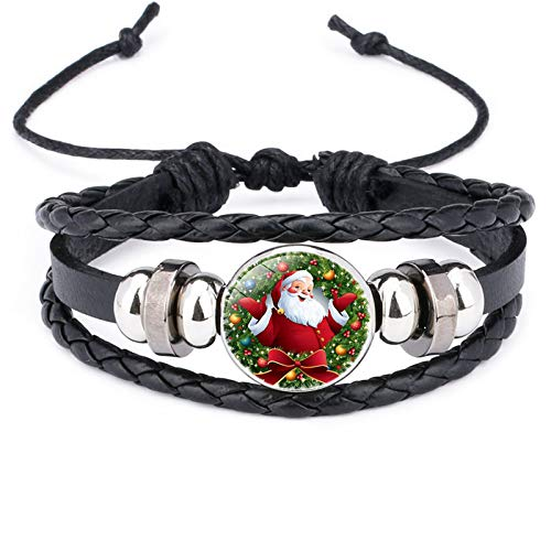 Premium Christmas Themed Leather Braided Bracelet for Men and Women, Christmas Decorations Beaded Bracelet Multilayer Hand Woven Bracelet Wristbands Charm Wrap Bracelet Jewelry Gift (Black)