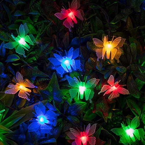 Lights4fun - Cadena de Luces con 10 LED Multicolor a Energía Solar con Mariposas para Exteriores