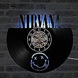 Nirvana Reloj De Pared Vintage Accesorios De Decoración del Hogar Diseño Moderno Reloj De Vinilo Colgante Reloj De Pared Reloj Único 12' Idea de Regalo Creativo