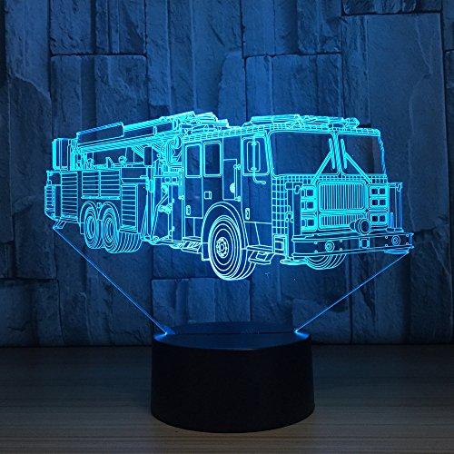 3d coche de bomberos Camiones zugmaschine óptico Illusions lámpara 7colores Interruptor táctil Illusion Luz nocturna para dormitorio Home Decoration boda Navidad Valentine regalo de cumpleaños