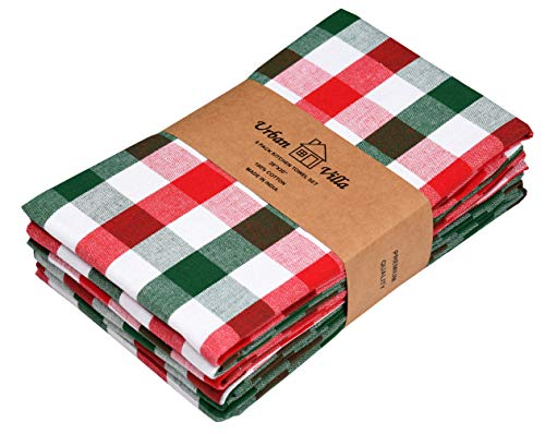 Urban Villa Set of 6 Kitchen Towels 20×30 Inch 100% Cotton Highly Absorbent Dish Towels Premium Quality Ultra Soft Bar & Tea Towels with Mitered Corners- Red/Green/White