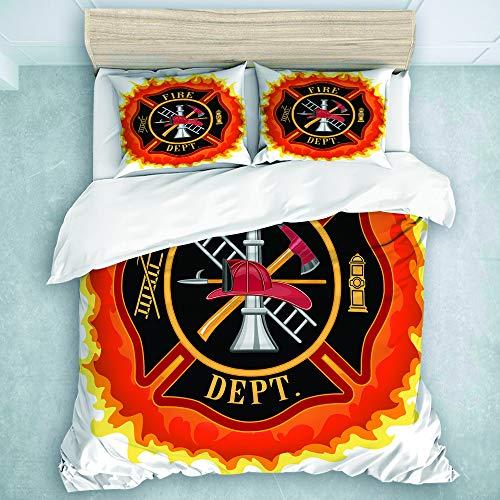KOSALAER Bettwäsche-Set,Mikrofaser,Feuerwehr-Symbol mit Leiter Öffentlicher Dienst Grundlegende Werkzeuge von Feuerwehrleuten,1 Bettbezug 240 x 260cm + 2 Kopfkissenbezug 50 x 80cm