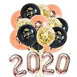 Graduación Globo 2020, Party Ballons Adornos, Decoración de Año Fiestas, 19 Piezas Incluye Globos de Confeti Globos de látex, Globos de Fiesta de Graduación (Rose)