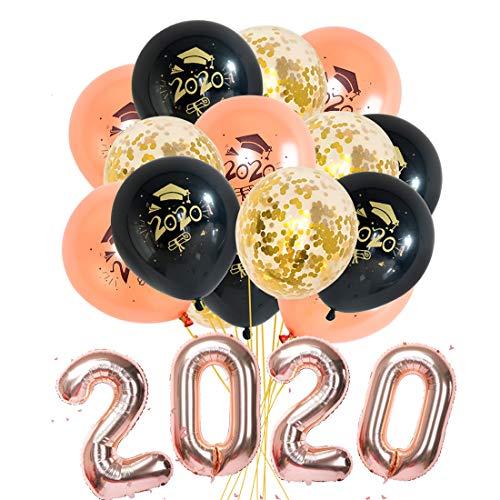 Abschluss Deko 2020 - Abschlussfeier Luftballons, Graduation Ballon Helium für Graduierung Schulabschluss Abi Abitur Studium, Graduation Party Decorations (Rose Balloon)