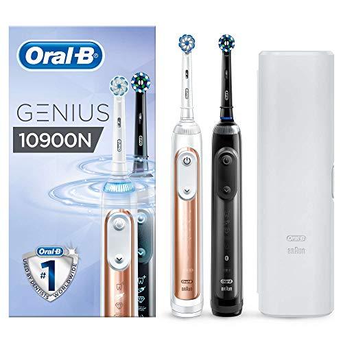 Oral-B Genius 10900N Elektrische Zahnbürste mit Zahnfleischschutz-Assistent, mit 2. Handstück, rosegold & schwarz