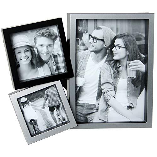DONREGALOWEB Portafotos múltiple de Aluminio para 3 Fotos de 13cm x 18cm, 8cm x 8cm y 6,5cm x 6,5cm en Color Plata y Negro