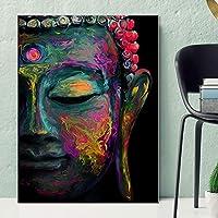 ファッションキャンバス絵画 仏ウォールの写真ポスターと壁アートキャンバスプリントホームデコレーションで仏の絵画のプリント現代のカラフルな頭 (Color : Lye1383 02, Size (Inch) : No frame 60x90cm)