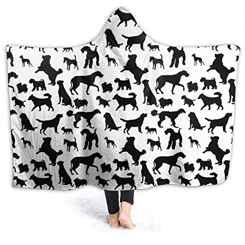 XCNGG Manta con Capucha Hooded Blanket Throw Dog Pattern Super Soft Sherpa Fleece Blanket Hood...