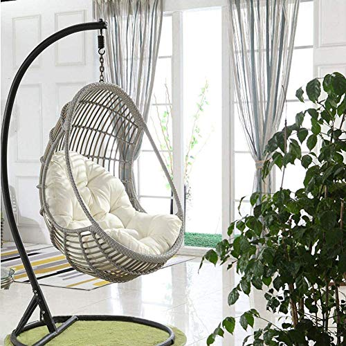 Ezoon Wicker Rattan Cushion Hanging Egg Chair Pads,Outdoor Waterproof Hammock Pad,Thick Nest Swing Pad Back Cushion for Backyard Balcony Garden Patio
