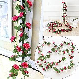 artificial rose garland, 98 inches 45 head fake rose garland, artificial silk white flower vines, hanging floral garland, wedding flowers string party arch garden wall diy decor (c) silk flower arrangements