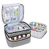 Luxja Organizador de esmaltes de uñas, esmaltes de uñas Estuche, Porta esmaltes de uñas- Sostiene 20 Botellas (15 ml - 0.5 FL.oz), Bolsa de Almacenamiento de Doble Capa para lacas y manicuras, Gris