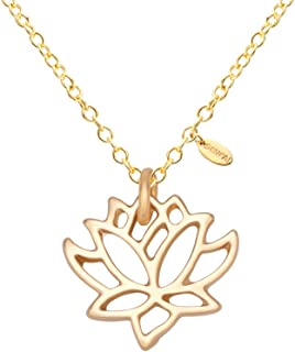 SENFAI New Simple Gold and Silver Lotus Necklaces for Women Elegant Vivid Lotus Flower Pendant Necklaces (Gold 2)