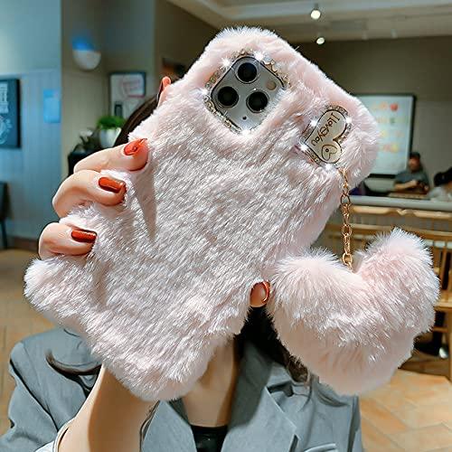 Funda de teléfono de Lujo con Colgante de Amor para iPhone 12 Pro MAX 11 X XS XR 8 7 6 6S Plus SE 2020 5S 5C 4S Fundas de Felpa de Invierno cálidas y Bonitas, Colgante de Amor F, para iPhone X XS