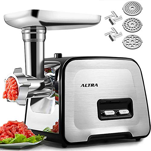 Upgrade Electric Meat Grinder, ALTRA Stainless Steel Meat Mincer &Sausage Maker Stuffer& Food Processor, [2000W Max] [Concealed Storage Box] Sausage Tubes& Kubbe Makers, 3 Plates, 2 Blades, 1 Pusher