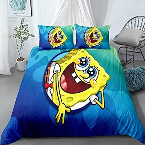 917 Spongebob Microfibre 3-Piece Duvet Cover Set Bedding Set for Children Gift Child, Spongebob 1, 220 x 240 cm