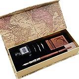 GC LL-58 - Set di penne per calligrafia con 3 pennini, inchiostro nero, bottiglia e portapenne