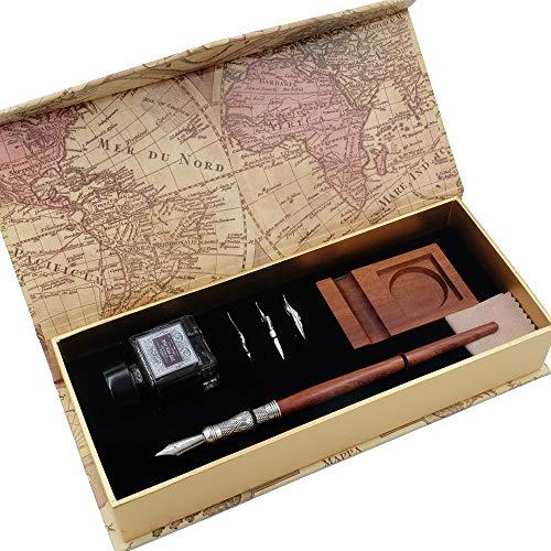 GC LL-58 Ensemble de Stylos de calligraphie en bois avec 3 plumes, encre noire, flacon et porte-stylo