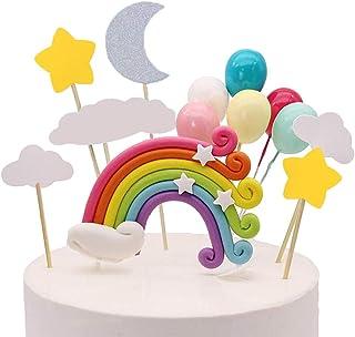 Palksky Colorful Rainbow Cake Topper/Wedding Cake Flags/Cupcake Picks Set -Include Cloud Balloon Moon Stars/Boy Girl Kid B...