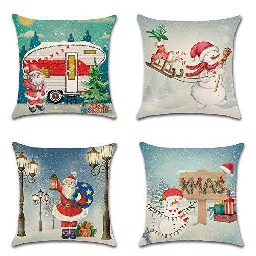 Artscope Funda de Cojín 45x45cm Navidad,Funda de Almohada para Cojín Cuadrado Algodón Lino para Sofá Cama Hogar Decorativo para Navidad Christmas,Set de 4 (Papá Noel con muñeco de Nieve)
