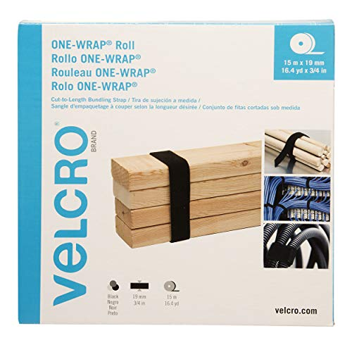 VELCRO Brand ONE WRAP Roll   Reusable, Cut-to-Length   Self Gripping Multi-Purpose Hook and Loop Tape   Black, 16.4yd x 3/4in