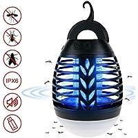 ROVLAK Lámpara Antimosquitos Exterior 2 en 1 Eléctrico Mosquitos Killers USB + Linterna de Camping Portátil LED Lámpara Anti Mosquitos Electrico UV Lampara Mosquitos para Exterior Acampar, Negro