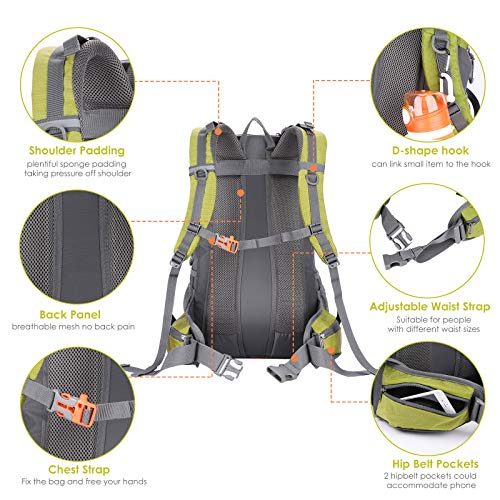 Hiking Backpack 40L Camping Backpack with Waterproof Rain Cover Hiking Daypack