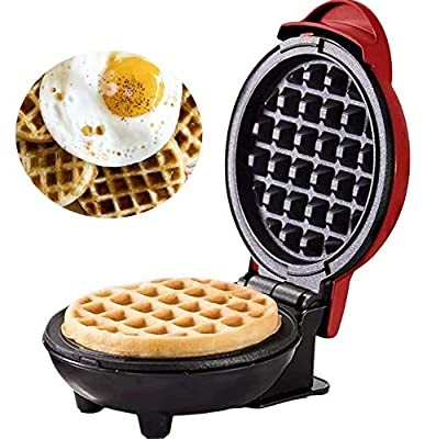 Mini Waffle Maker Machine for Breakfast,Waffle Irons Non-Stick for Home,Red (Red)