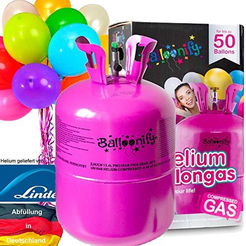 Carpeta BALLONGAS FÜR 50 Luftballons + 50 Ballons + FÜLLVENTIL | Helium Einweg Flasche Luftballon Folienballon Deko Geburtstag Party Hochzeit