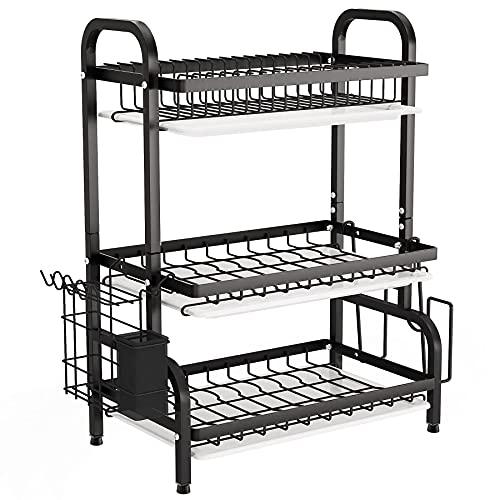 1Easylife - Estante de secado para platos de 3 niveles, escurridor de platos de gran capacidad con soporte para utensilios, soporte para tabla de cortar, bandeja para organizador de cocina