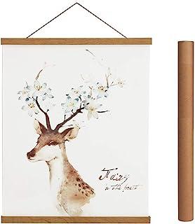 Magnetic Poster Hanger Frame, 16x24 16x22 16x20 Light Wood Wooden Magnet Canvas Artwork Print Dowel Poster Hangers Frames ...