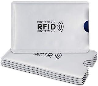 kwmobile 5x クレジット カードケース RFIDブロッカー - スキミング防止 クレカ 銀行カード 交通系ICカード シルバー