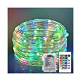 Cosumina Waterproof Strip Lights, Indoor Outdoor Rope Lights 100 LED Rope Lights with Remote Control PVC Tube String Light for Garden Fence Party Wedding Decor(33ft)