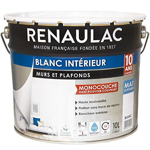 Renaulac Peinture intérieur Murs & Plafonds Monocouche Acrylique Blanc Mat 10L...