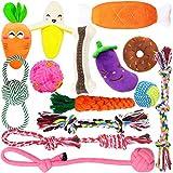 MLCINI Puppy Toys Dog Toys Puppy Toys for Teething Puppy Chew Toys Plush Dog Squeaky Toys Dog Rope Toy Nylon Dog Bone IQ Treat Ball Small Dog Chew Toys 14 Pack with Bonus Storage Bag