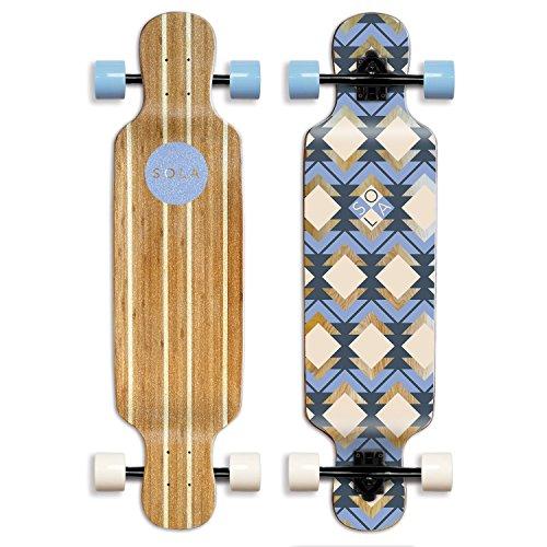 SOLA Bamboo Premium Graphic Design Complete Longboard Skateboard - 36 to 38 inch (Geometry) (GCSL100)