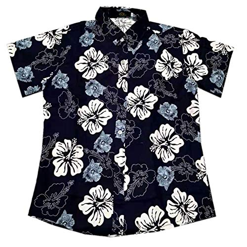 Metermall Fashion For Men Women Hawaii Shirt Black White Flower Lapel Short Sleeve Couple Summer Beach Casual Blouse