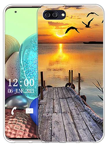Sunrive Kompatibel mit Ulefone Gemini Pro Hülle Silikon, Transparent Handyhülle Schutzhülle Etui Hülle (X Sonnenuntergang See)+Gratis Universal Eingabestift MEHRWEG