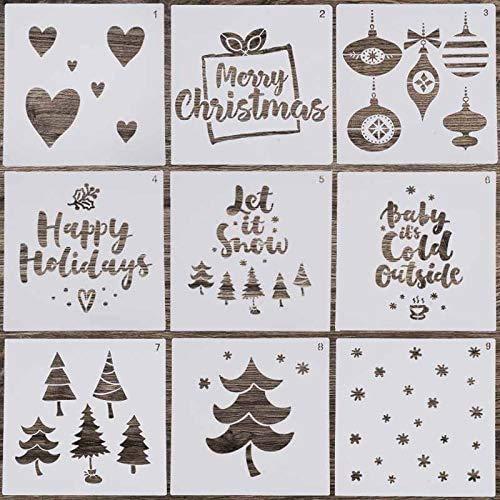 7thLake 9 Stücke 8 Zoll Weihnachten Schablonen Set,Wiederverwendbare Kunststoff Zeichenschablonen für Bullet Journal, Scrapbooking, Fotoalbum, Gästebuch, DIY Geschenkkarten