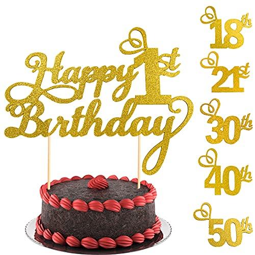 2 Stücke 1.Geburtstagstorte Topper, Glitzer Cake Topper 1 Geburtstag, Happy Birthday Tortendeko 1, Happy 1.Birthday Kuchen Cupcake Topper, Gold Kuchen Dekoration für 1 Geburtstagsfeier Zubehör