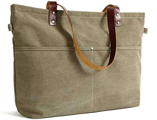 Canvas Leather Tote with Zipper Leather Tote Bag for Women Shoulder Bag Handbag
