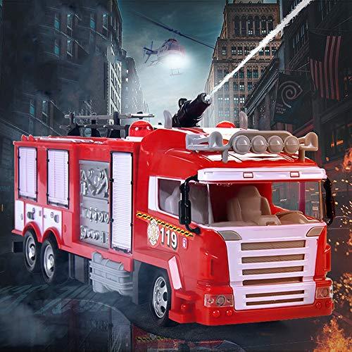 Lotees Los niños Rc rescate de bomberos Camión de control remoto niños de juguete de chorro de agua del coche de rescate bombero vehículo que se extiende Escalera luces que salpica el agua intermitent