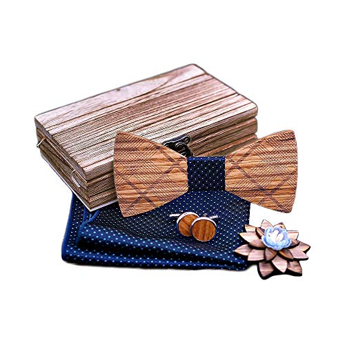 Kuty Pajarita de Madera + Pañuelo + Gemelos de Madera + Broche, Hombres Conjunto De Pajarita de Corbata en Caja de Regalo Fiesta de Bodas Accesorios