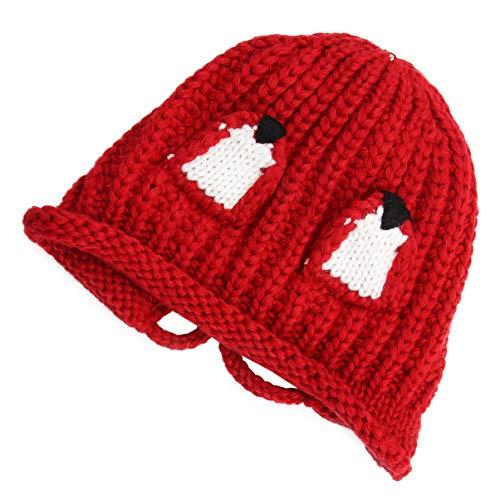 ABOOFAN Gorro Navideño de Lana para Bebé Gorro de Punto Cálido con Orejeras para Recién Nacido Protección para Los Oídos de Invierno Regalos de Fiesta de Bienvenida Al Bebé (Rojo)