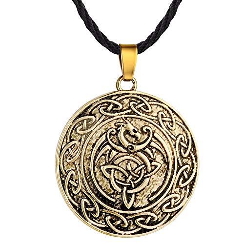 N/B Wikinger slawische Talisman Tier Drache Anhänger Halskette Männer geometrische Knoten Halskette Dreieck Halskette Schmuck