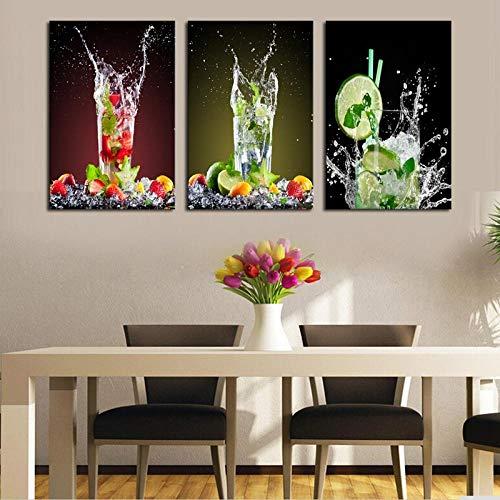 WENJING geschilderd 3 stuks moderne sap afbeelding canvas schilderij versieren melk thee winkel Lemon glas drinken kunst afbeelding wooncultuur 50x70 cmx3 stuks geen lijst