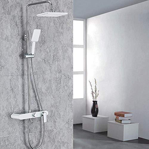 Doucheset aan de muur gemonteerde doucheset met drie snelheden koperen kraanset met één knop 10-inch versterker die kan worden verhoogd en verlaagd Primary Color