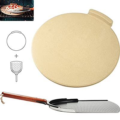 The Ultimate Pizza Making Kit - Our Ultimate 16 inch Round Pizza Stone and 14 inch Pizza Peel Bundle. Great Tools for Safely Baking Pizza, Cookies and Bread