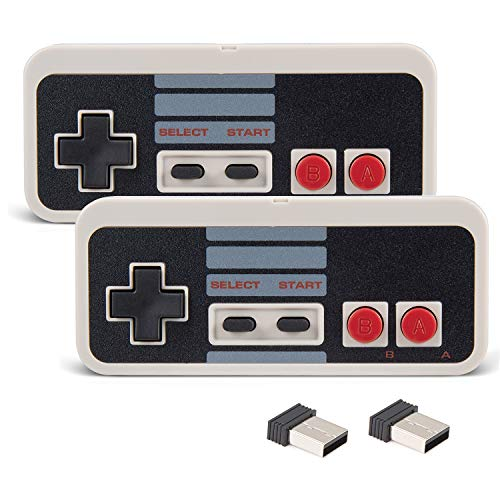 2 Pack NES Wireless Controller, kiwitatá Classic NES 2.4ghz Wireless USB PC Game Controller Joypad for Windows PC MAC Linux Raspberry Pi (Gray)